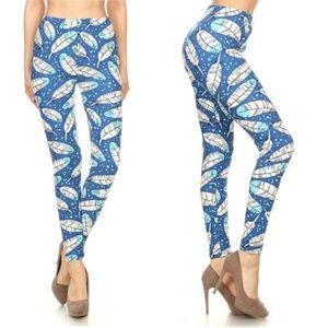 MEGA SOFT  Brushed Knit Blue Feather Leggings