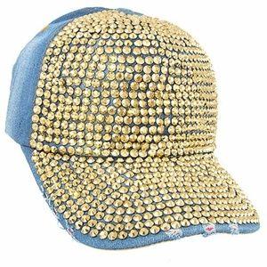 Accessories - ***Stud Accent Distressed Denim Baseball Cap***