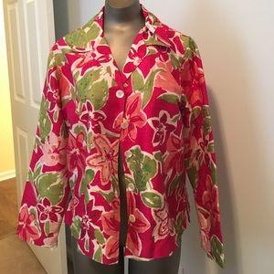 Chicos silk tropical floral silk jacket medium