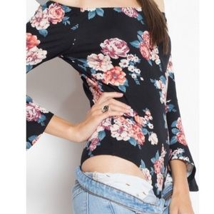 Tops - Boho bell sleeves floral bodysuit