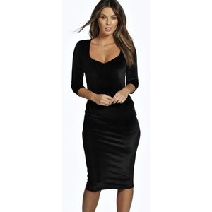 Boohoo Night Victoria Black Velvet Midi Dress