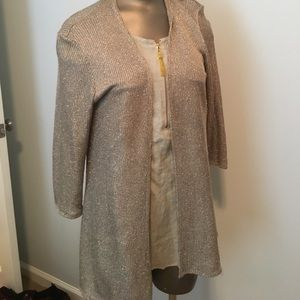 Chico's M sz 1 gold lame' knit long cardigan.