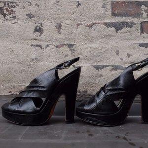 Moschino Reptile Embossed Black OpenToe Sandal SZ9