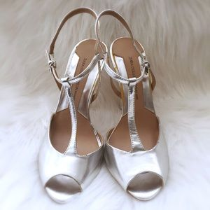 Brand New Silver Zara Collection T Strap Pumps