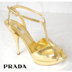 SALE -- Prada Gold T-Strap Peep Toe Heels