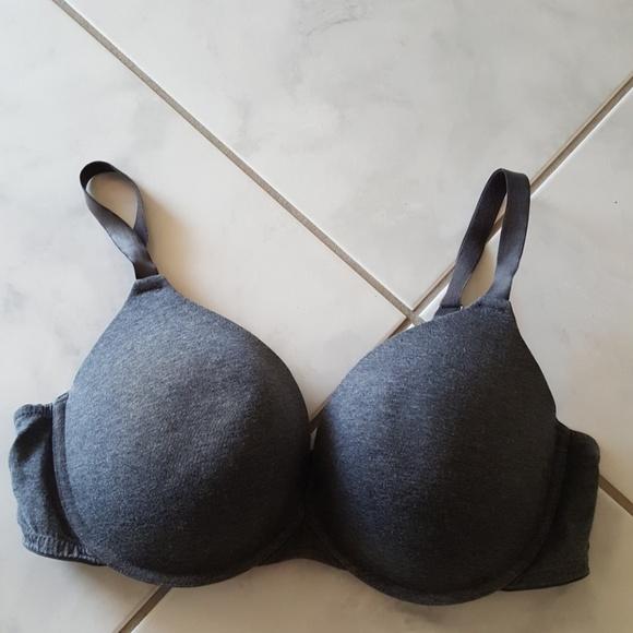 57c6bd20bd75 Dreamfit Intimates & Sleepwear   Charcoal Gray Padded Plunge Bra 42d ...