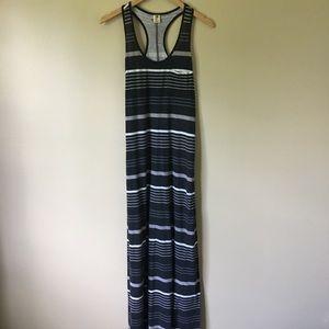Roxy black, white & gray striped maxi dress