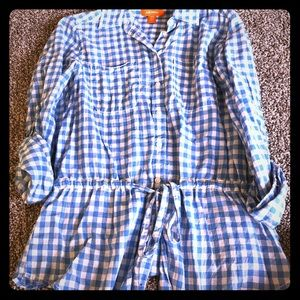Baby blue and white plaid button up