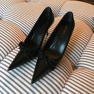 Prada black leather pumps. Size 8.
