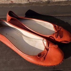 Marc Jacobs Orange Leather Ballet Flats SZ 8.5