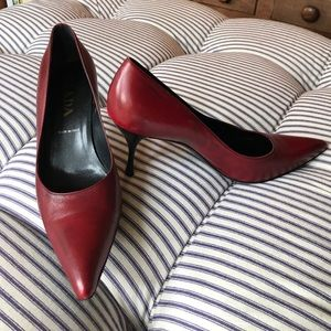 Prada red leather pumps. Size 8.5.
