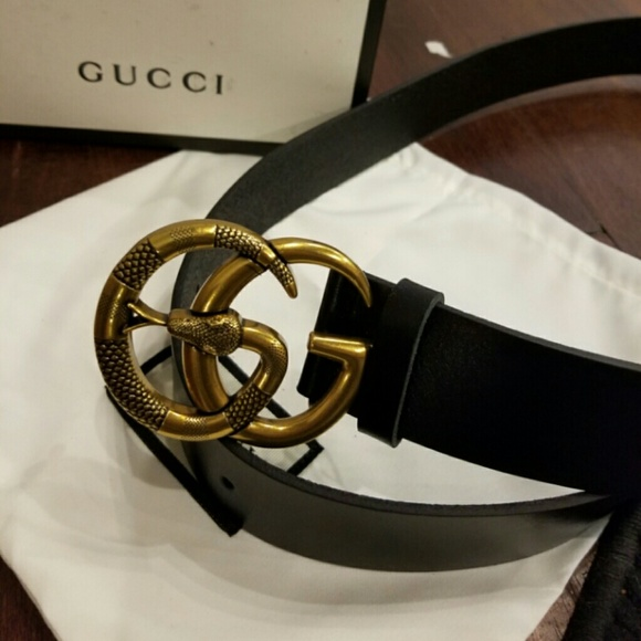 178cb44be Gucci Accessories | Authentic Belt Black Leather Snake Buckle | Poshmark