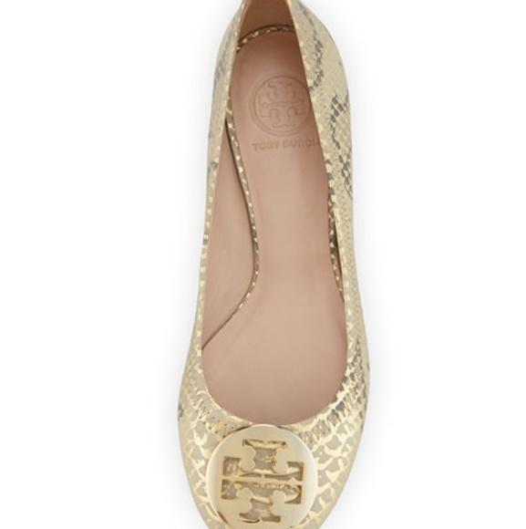 6a29b1afaf9ea Size 7.5 Tory Burch Reva Metallic Ballerina Flat