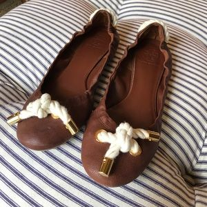 Tory Butch chestnut leather ballet flat. Size 8.