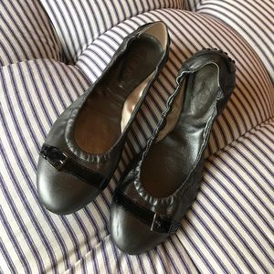 Tods pewter leather flats. Size 8.