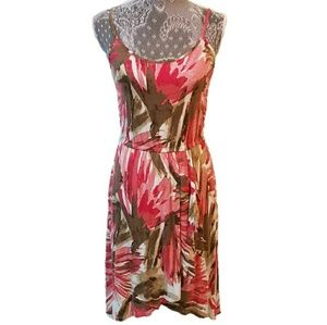 ANN TAYLOR pleated floral tropical sundress