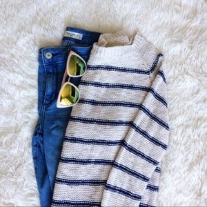 FOREVER21 oatmeal+blue stripe knitted sweater