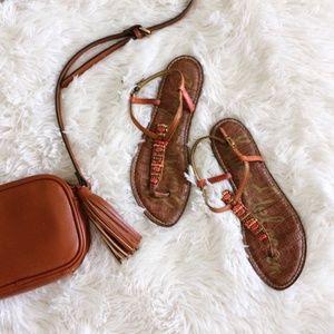 SAM EDELMAN brown+red beaded Gale sandal