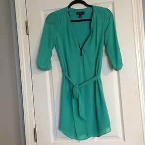 Dresses & Skirts - BCX Green Front Zipper Dress with Self Tie