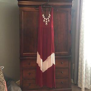 Dresses & Skirts - Burgundy and white chevron bottom dress