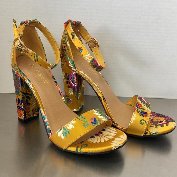 0800584aaee88 Mustard oriental print heel Boutique