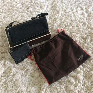 Coach signature canvas bag & coin wallet
