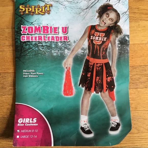 Zombie Cheerleader Halloween Costume For Girls.Girls Zombie Cheerleader Halloween Costume