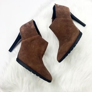 New Calvin Klein Brown Suede Pointed Toe Booties