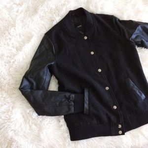 FOREVER21 all black varsity faux leather jacket