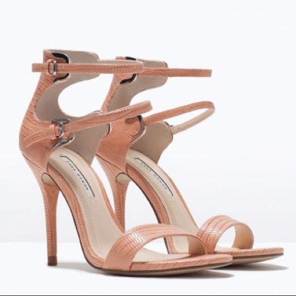 39cd1198495 ZARA CORAL PINK TEXTURED HIGH HEEL SANDAL