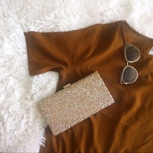 ALDO NWT large gold+bronze encrusted clutch