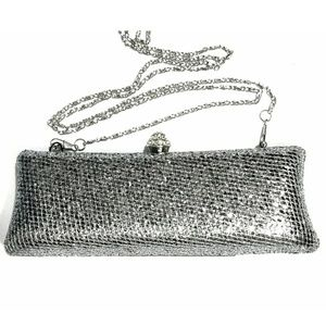 Handbags - Silver Sparkle Clutch with Shoulder Chain NWOT
