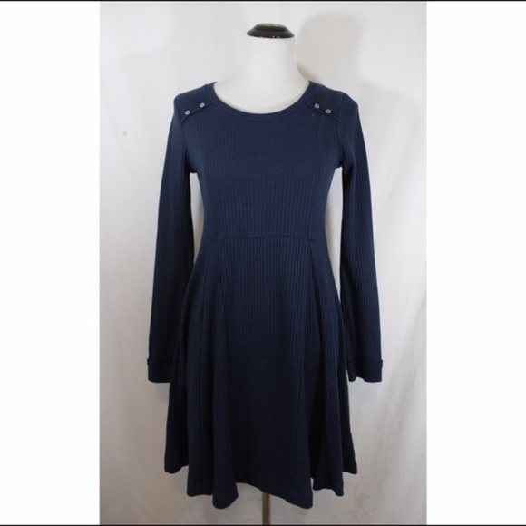 Anthropologie Dresses - ANTHROPOLOGIE blue waffle long sleeve skater dress