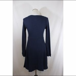 Anthropologie Dresses - ANTHROPOLOGIE blue waffle long sleeve skater dress