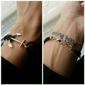 Jewelry - Anchor Bracelet Black and Gold