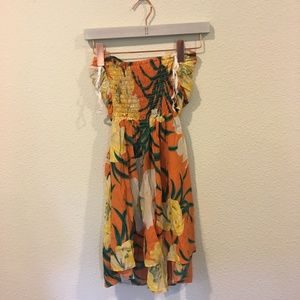 Tucker Dresses - Tucker orange and white floral strapless dress