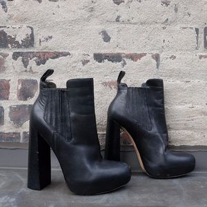 Alexander Wang Anabela Black Leather Ankle Boot