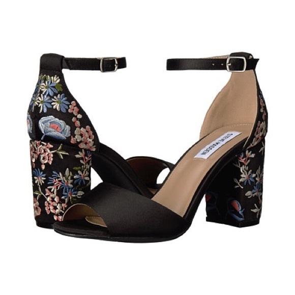 Poshmark Delilah Shoes Madden Heels Black Steve Satin Floral qHAn011R