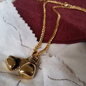 Jewelry - Gold-Tone Boxing Gloves Necklace