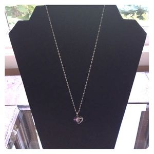 Jewelry - Purple & silver double hearted pendant