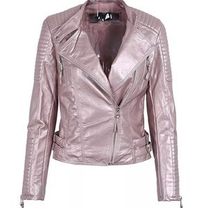 Pink shiny faux leather jacket motorcycle Small