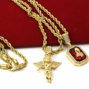 Other - Gold Angel & Praying Hands Ruby 2 Necklace Set