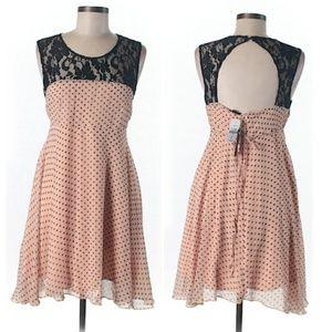 Peach Polka Dot & Lace Dress