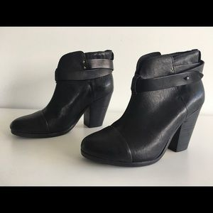 RAG & BONE HARROW BLACK LEATHER ANKLE BOOTS