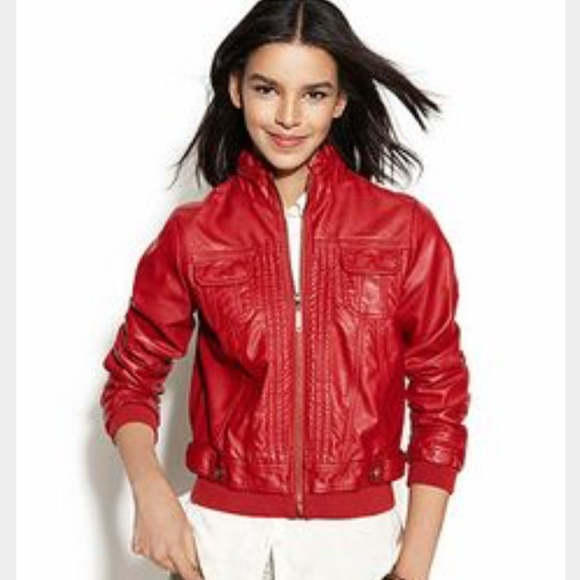 ff0f1a5ee Jou Jou Red Faux Leather Bomber Jacket