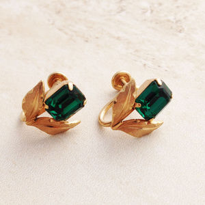 Vintage 40's-50's Gold (GF) and Emerald Earrings