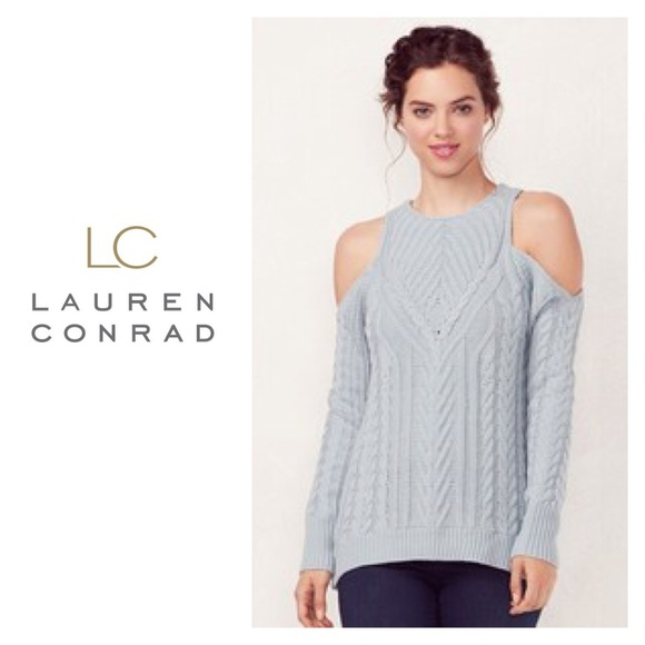 7d18c24951a52d SALE Lauren Conrad Blue Cold Shoulder Sweater L