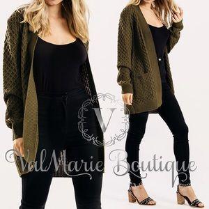 Olive Sage Knit Cardigan S M L XL