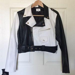 Black & White Faux Leather Jacket