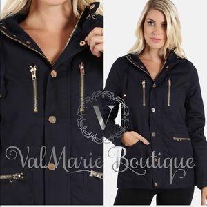 Navy with gold tone hardware utility jacket